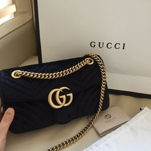 GUCCI GG MARMONT BLACK SHOULDER VELVET BAG